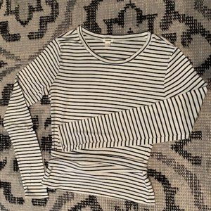 Garage Long Sleeve Striped Top Navy+White Size S